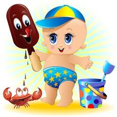 Bambino Neonato al Mare con Gelato-Baby with Ice Cream-2-Vector