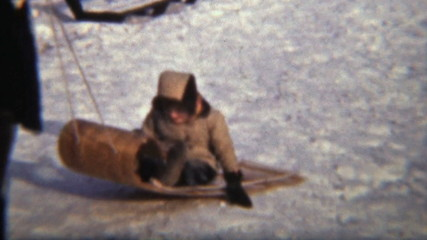 Girl Sledding With Her Mom (1942 Vintage 8mm film)