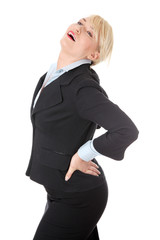 Mature businesswoman with backpain.