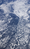 High altitude view of the frozen river in Arctic Canada poster