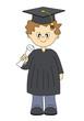 Chico con toga y diploma de graduación