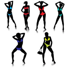 Sexy girls in bikini silhouettes.Vector