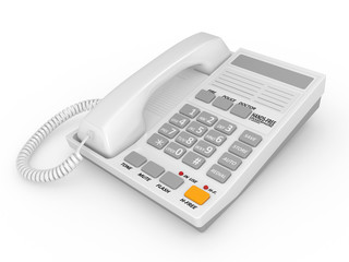 Modern white office telephone