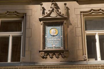 Memorial to Karel Skreta the famous Baroque Painter in Prague
