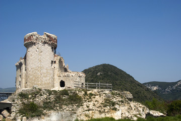 Ruins of the castle Gavone 12th century (Liguria region, Italy)