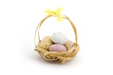 Basket of candy coated chocolate easter eggs