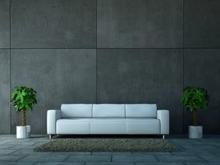 weisses Sofa vor Betonwand