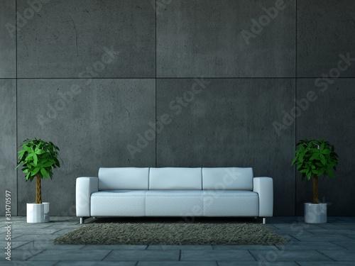 weisses sofa vor betonwand von virtua73 lizenzfreies foto. Black Bedroom Furniture Sets. Home Design Ideas