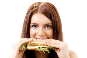 Woman eating sandwich with cheese, isolated