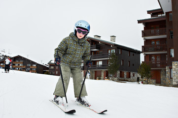 Small child skiing