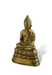 Bronze Buddha in a lotus position isolated on white