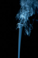 Abstract blueish smoke on black