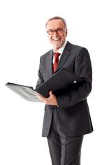 Isolated senior business man holding folder