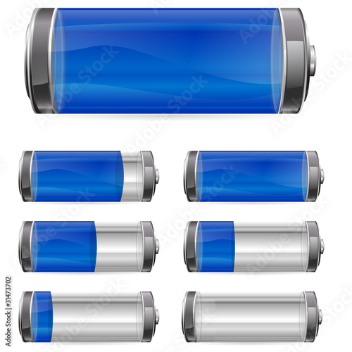 blue battery with different levels of charging