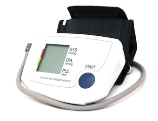 home digital blood pressure monitor isolated over white