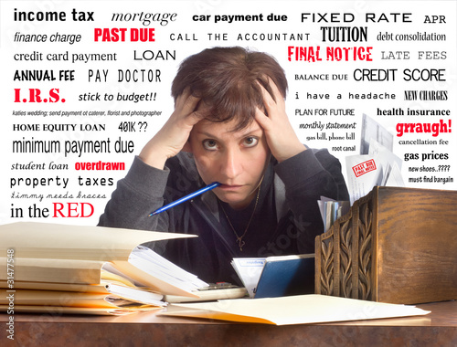 Woman Overwhelmed While Paying Bills