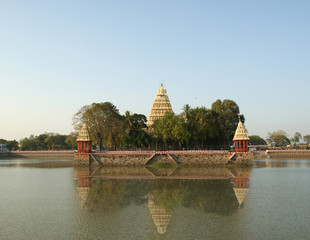 Traditional Hindu temple on lake
