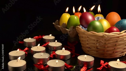 Easter eggs and candles