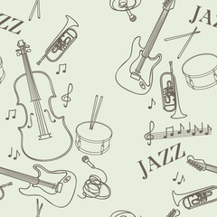 Seamless pattern with jazz instruments