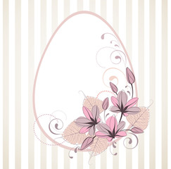 Stylized easter frame with egg and flowers