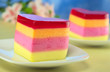 Colorful Peruvian jelly-pudding cakes called Torta Helada