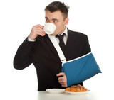 drinking coffee businessman with broken hand, series