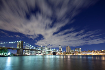 Brooklyn Bridge and Manhattan city skyline