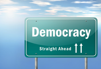 "Highway Signpost ""Democracy"""