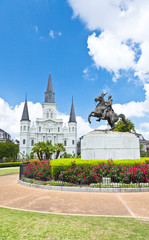 Saint Louis Cathedral and statue of Andrew Jackson