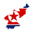 North Korea flag on map