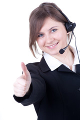 call center young woman with a headset thumb up