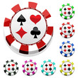 color casino chips set