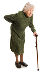Grandmother holding a cane on white background