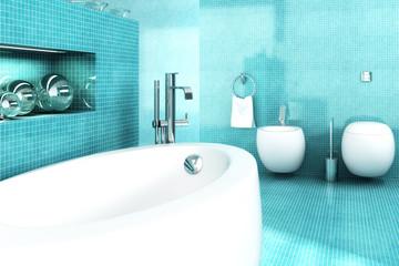 Badezimmer in blau