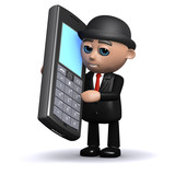 3d Banker calls someone on his mobile phone poster