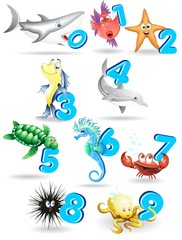 Animali del Mare Cartoon e Numeri-Sea Animals with Numbers