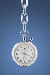 Stopwatch on a chain with clipping path.