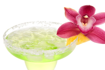 Margarita cocktail drink with orchid flower