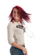 Happy young woman with red hair isolated against white