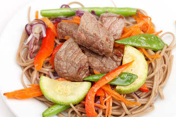 meat with vegetables and noodles
