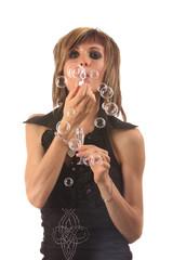 Portrait et coupe de bulles