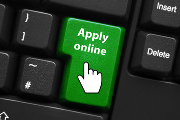 APPLY ONLINE Key on Keyboard (register now sign up web button)