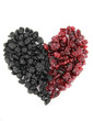 Heart of dried blueberries and cranberries