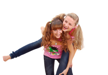 two teenage sisters having fun