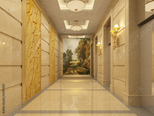 Modern corridor interior image ( rendering)