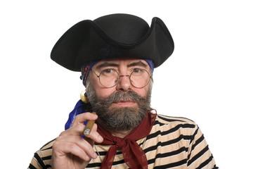 Bearded pirate smoking a cigar.