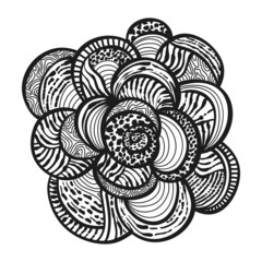 abstract floral hand drawn monochrome design element