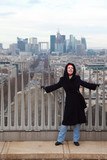 woman standing on Triumfaly arch, view of La Defense