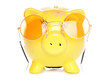 Yellow piggybank with sunglasses
