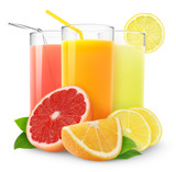 Fototapety Isolated citrus juice. Three glasses with orange, grapefruit and lemon juice and cut fruits isolated on white background